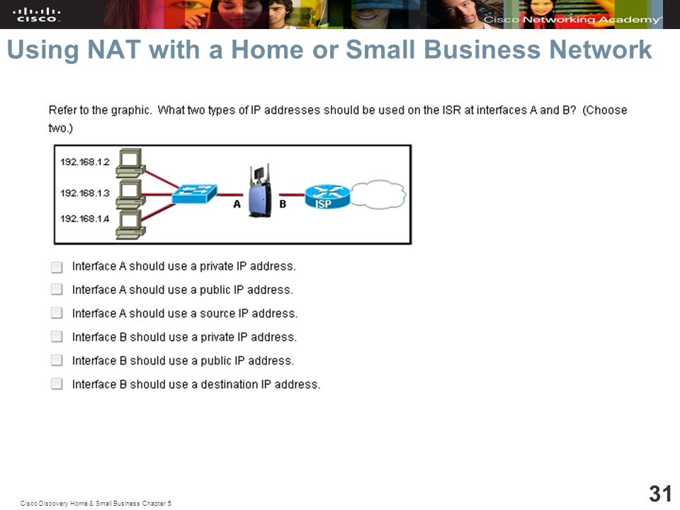Cisco Discovery Home & Small Business Chapter 5 31 Using NAT with a Home or Small Business Network