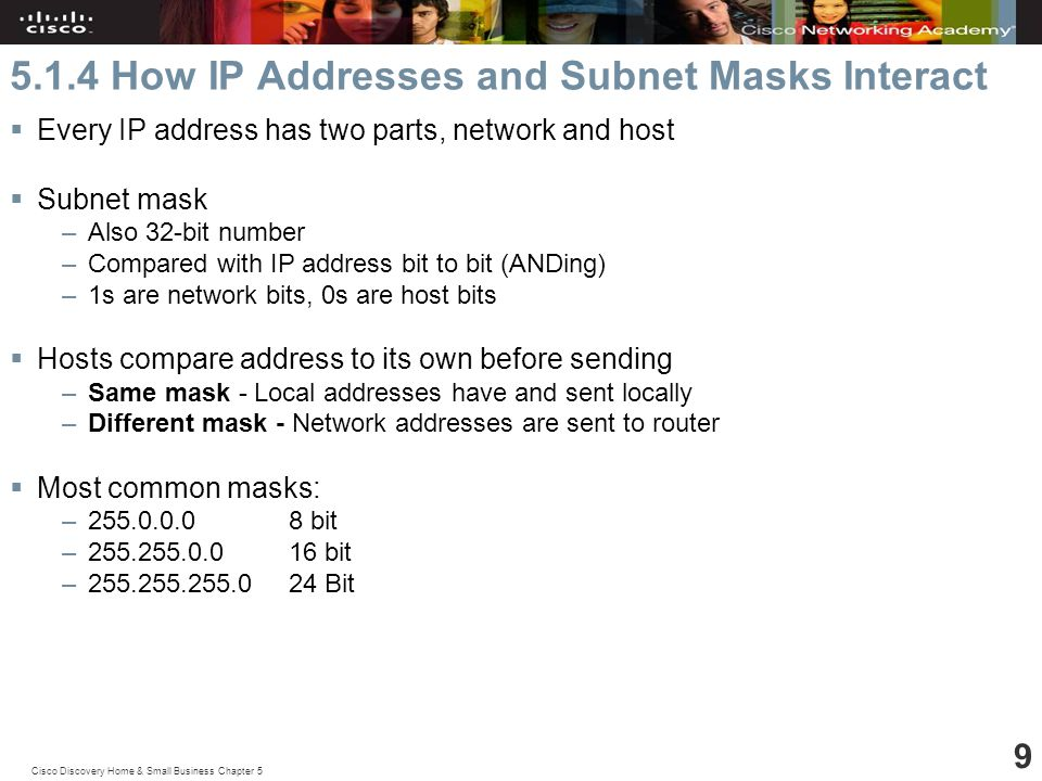 Cisco Discovery Home & Small Business Chapter How IP Addresses and Subnet Masks Interact  Every IP address has two parts, network and host  Subnet mask –Also 32-bit number –Compared with IP address bit to bit (ANDing) –1s are network bits, 0s are host bits  Hosts compare address to its own before sending –Same mask - Local addresses have and sent locally –Different mask - Network addresses are sent to router  Most common masks: – bit – bit – Bit