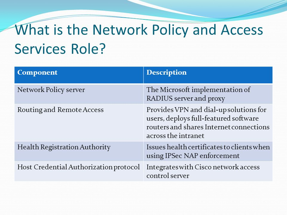 What is the Network Policy and Access Services Role.
