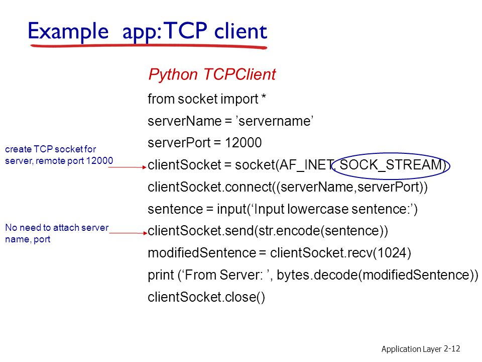 Application Layer 2-12 Example app: TCP client from socket import * serverName = 'servername' serverPort = clientSocket = socket(AF_INET, SOCK_STREAM) clientSocket.connect((serverName,serverPort)) sentence = input('Input lowercase sentence:') clientSocket.send(str.encode(sentence)) modifiedSentence = clientSocket.recv(1024) print ('From Server: ', bytes.decode(modifiedSentence)) clientSocket.close() Python TCPClient create TCP socket for server, remote port No need to attach server name, port