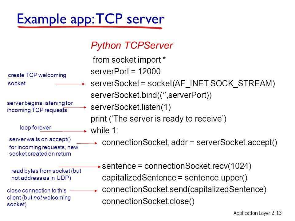 Application Layer 2-13 Example app: TCP server from socket import * serverPort = serverSocket = socket(AF_INET,SOCK_STREAM) serverSocket.bind(('',serverPort)) serverSocket.listen(1) print ('The server is ready to receive') while 1: connectionSocket, addr = serverSocket.accept() sentence = connectionSocket.recv(1024) capitalizedSentence = sentence.upper() connectionSocket.send(capitalizedSentence) connectionSocket.close() Python TCPServer create TCP welcoming socket server begins listening for incoming TCP requests loop forever server waits on accept() for incoming requests, new socket created on return read bytes from socket (but not address as in UDP) close connection to this client (but not welcoming socket)