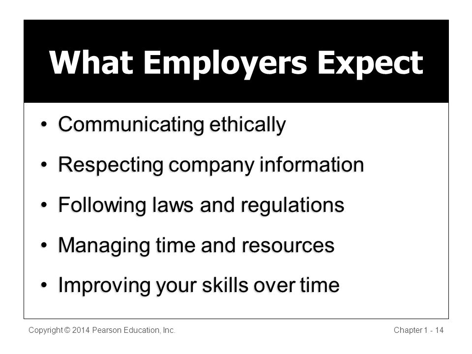 Copyright © 2014 Pearson Education, Inc.Chapter What Employers Expect Communicating ethicallyCommunicating ethically Respecting company informationRespecting company information Following laws and regulationsFollowing laws and regulations Managing time and resourcesManaging time and resources Improving your skills over timeImproving your skills over time