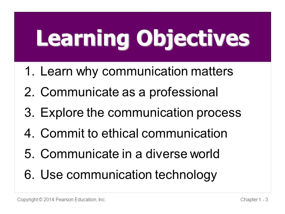 Learning Objectives 1.Learn why communication matters 2.Communicate as a professional 3.Explore the communication process 4.Commit to ethical communication 5.Communicate in a diverse world 6.Use communication technology Copyright © 2014 Pearson Education, Inc.Chapter 1 - 3