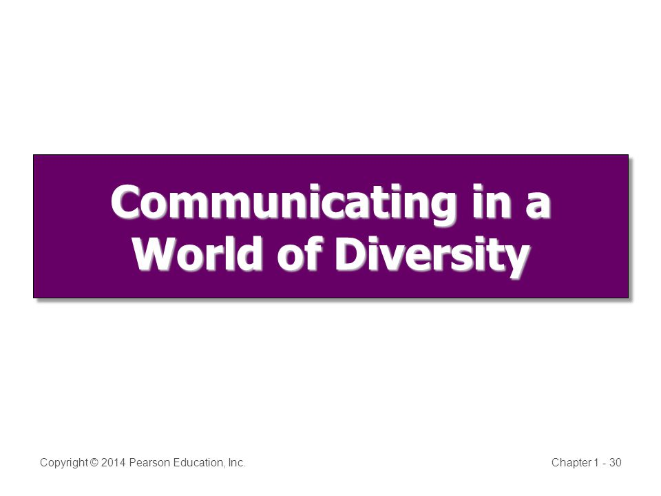 Communicating in a World of Diversity Copyright © 2014 Pearson Education, Inc.Chapter
