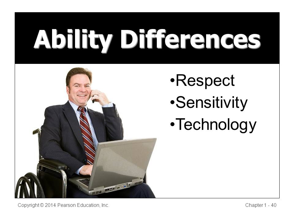 Ability Differences Copyright © 2014 Pearson Education, Inc.Chapter Respect Sensitivity Technology