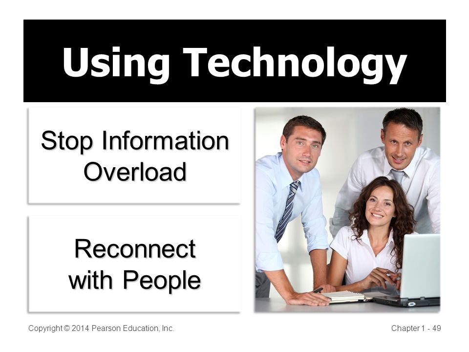 Copyright © 2014 Pearson Education, Inc.Chapter Using Technology Stop Information Overload Reconnect with People Reconnect