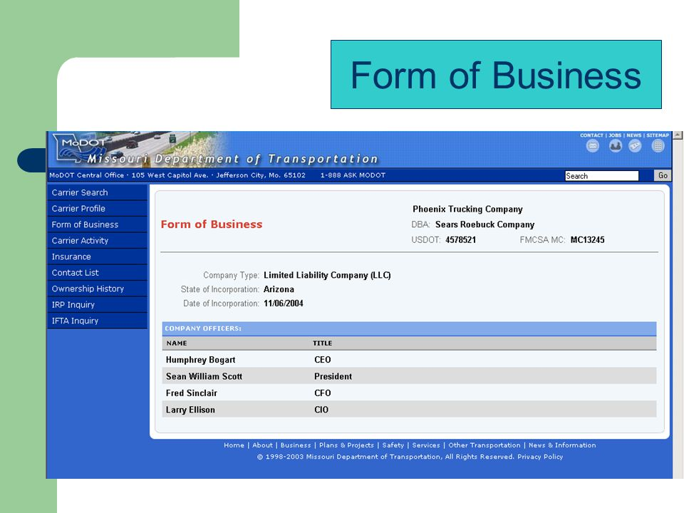 Form of Business