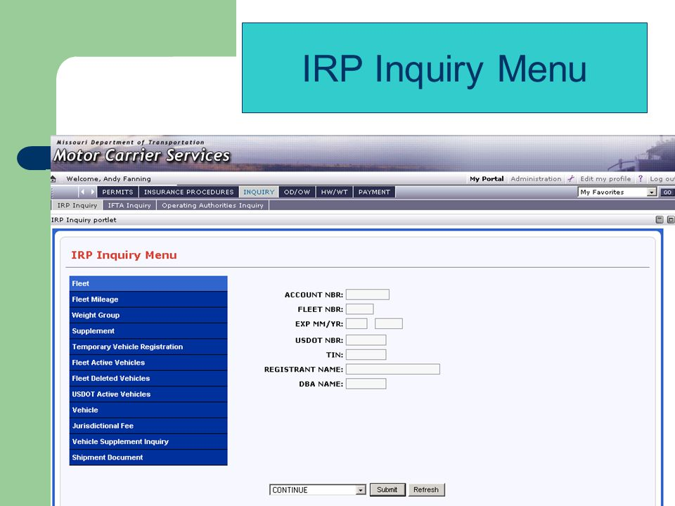 IRP Inquiry Menu