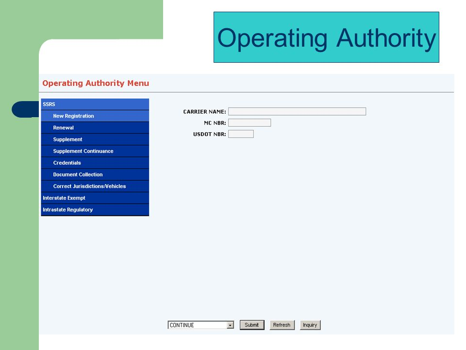 Operating Authority