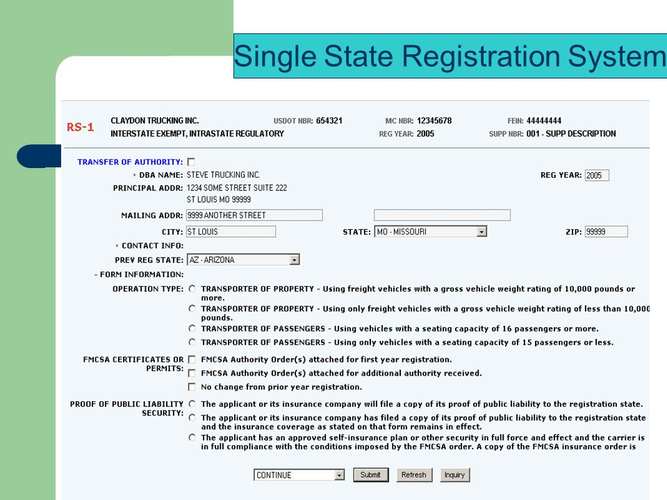 Single State Registration System
