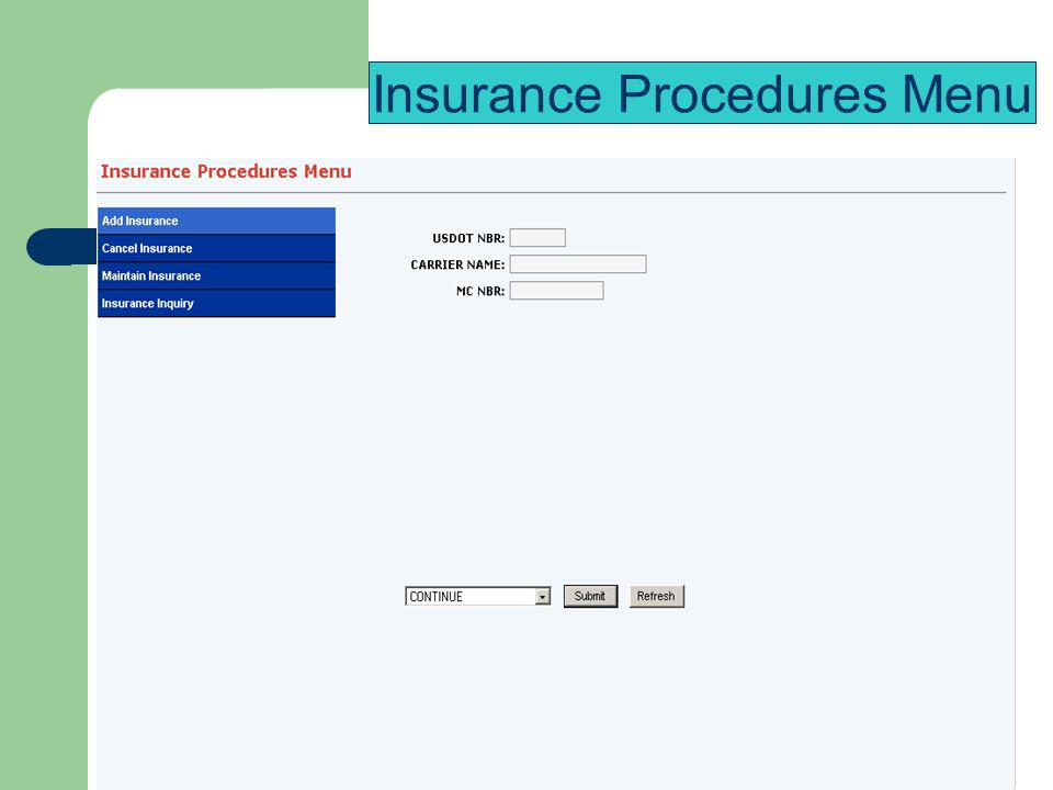 Insurance Procedures Menu