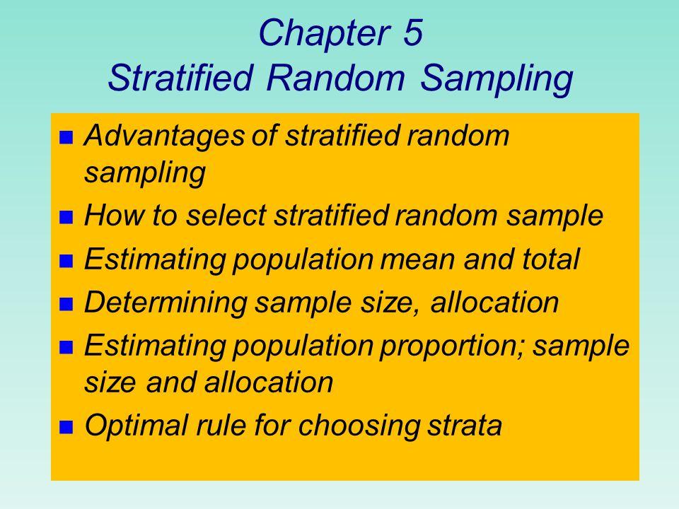 Stratified simple random sampling (chapter 5, textbook, barnett, v.