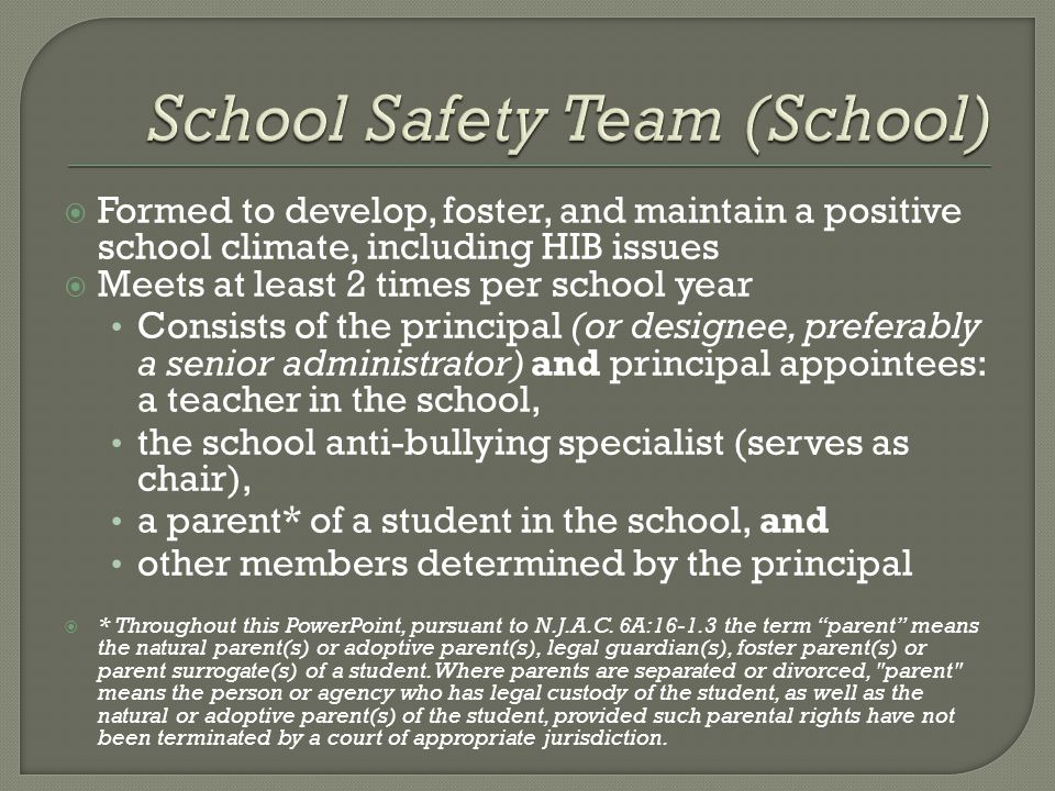  Formed to develop, foster, and maintain a positive school climate, including HIB issues  Meets at least 2 times per school year Consists of the principal (or designee, preferably a senior administrator) and principal appointees: a teacher in the school, the school anti-bullying specialist (serves as chair), a parent* of a student in the school, and other members determined by the principal  * Throughout this PowerPoint, pursuant to N.J.A.C.