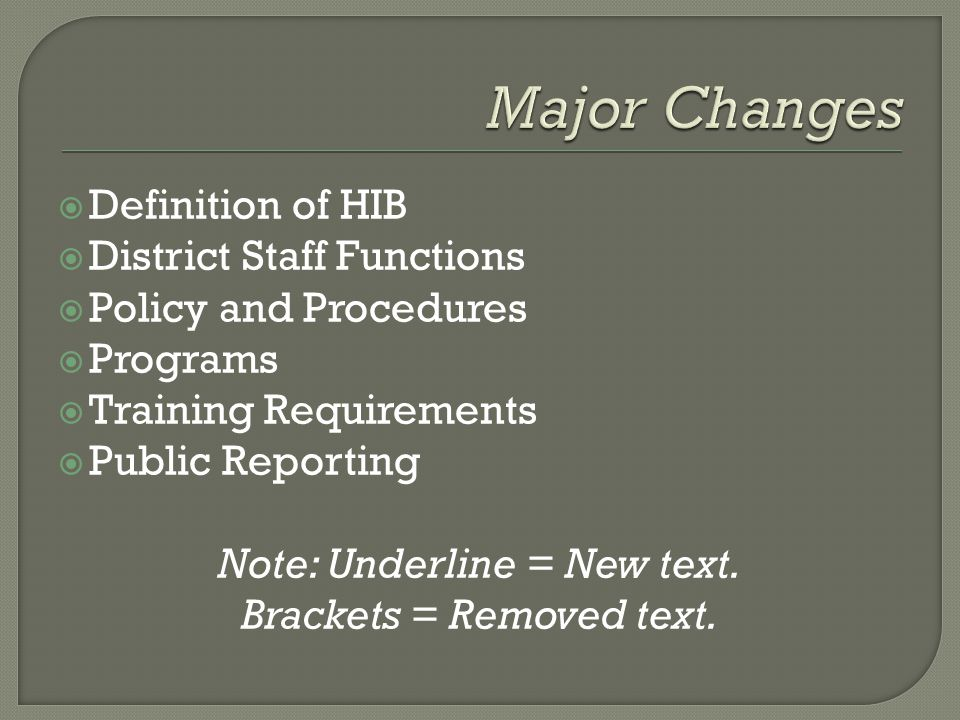  Definition of HIB  District Staff Functions  Policy and Procedures  Programs  Training Requirements  Public Reporting Note: Underline = New text.