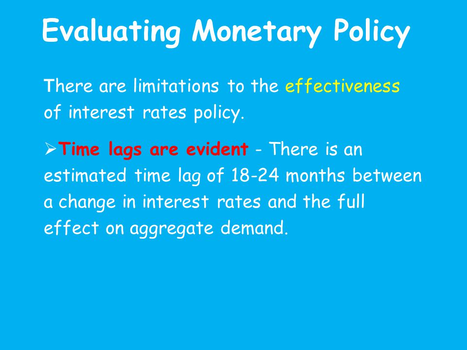 Evaluating Monetary Policy T here are limitations to the effectiveness of interest rates policy.