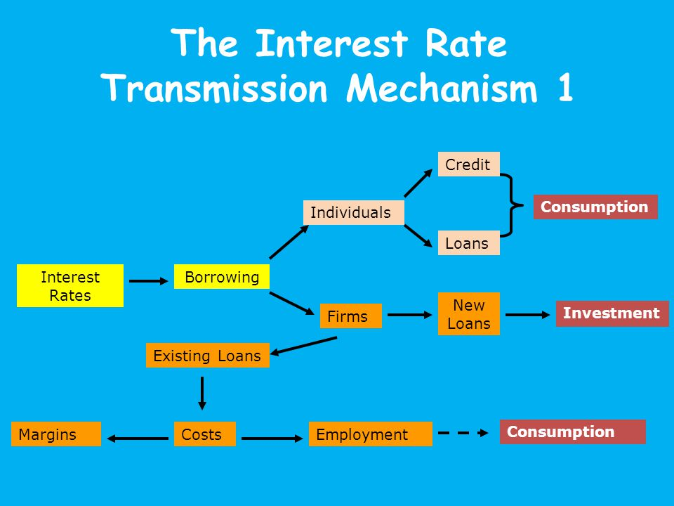 The Interest Rate Transmission Mechanism 1 Interest Rates Borrowing Individuals Credit Loans Consumption Firms New Loans Investment Existing Loans CostsEmploymentMargins Consumption