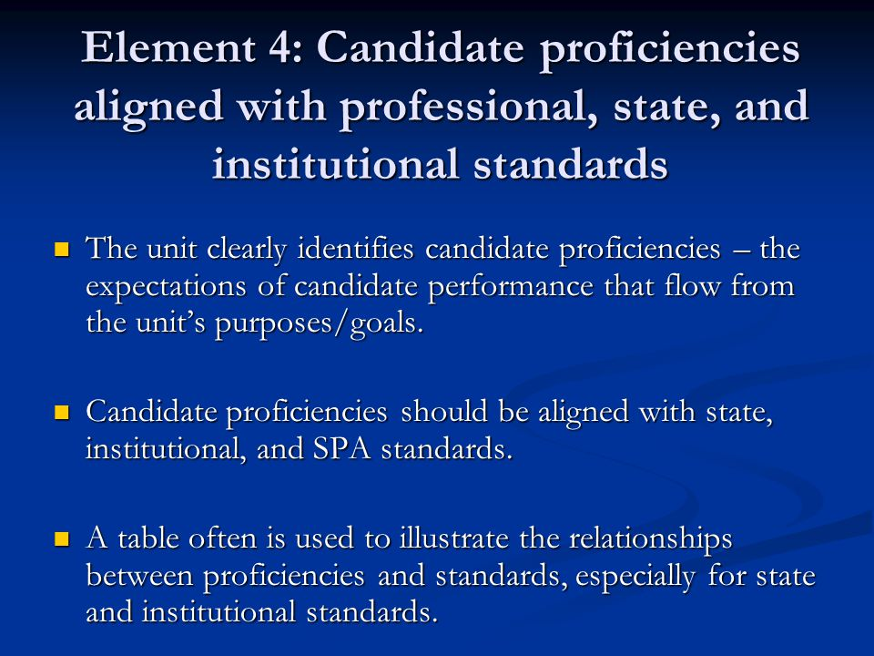 Element 4: Candidate proficiencies aligned with professional, state, and institutional standards The unit clearly identifies candidate proficiencies – the expectations of candidate performance that flow from the unit's purposes/goals.