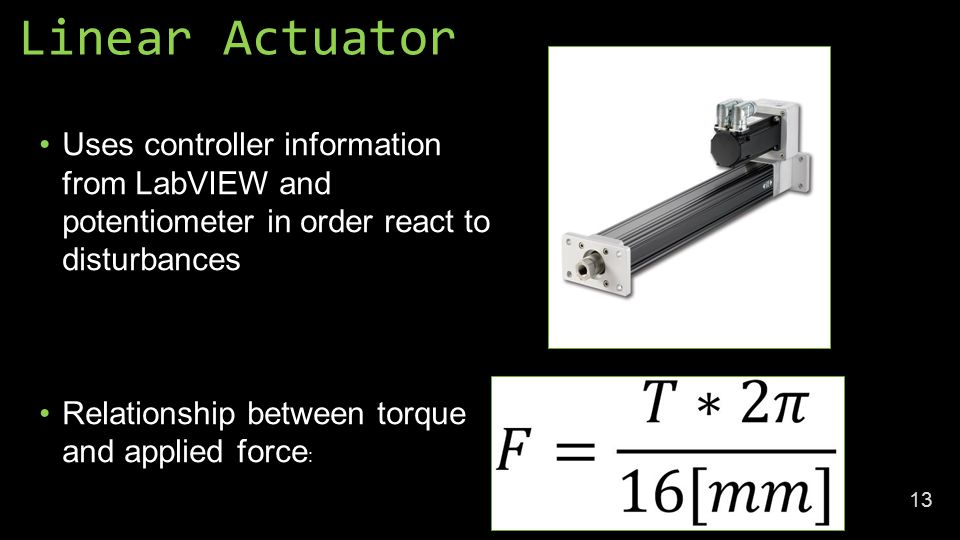 Linear Actuator Uses controller information from LabVIEW and potentiometer in order react to disturbances Relationship between torque and applied force : 13
