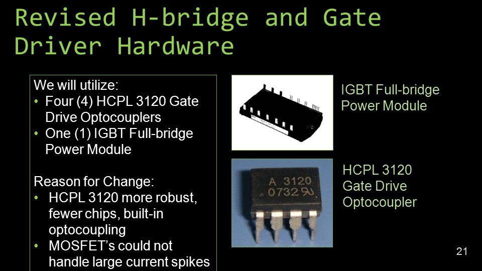 Revised H-bridge and Gate Driver Hardware We will utilize: Four (4) HCPL 3120 Gate Drive Optocouplers One (1) IGBT Full-bridge Power Module Reason for Change: HCPL 3120 more robust, fewer chips, built-in optocoupling MOSFET's could not handle large current spikes IGBT Full-bridge Power Module HCPL 3120 Gate Drive Optocoupler 21