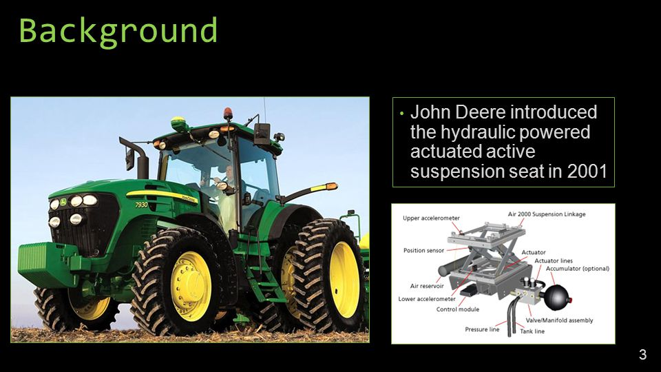 Background John Deere introduced the hydraulic powered actuated active suspension seat in