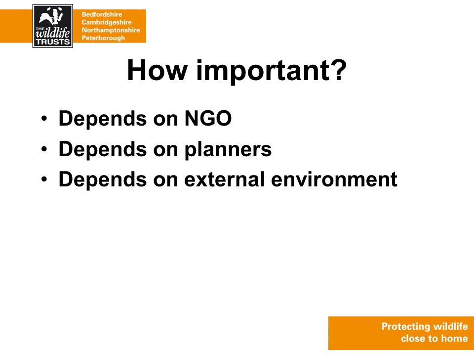 How important Depends on NGO Depends on planners Depends on external environment