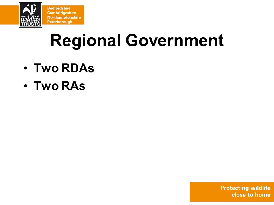 Regional Government Two RDAs Two RAs