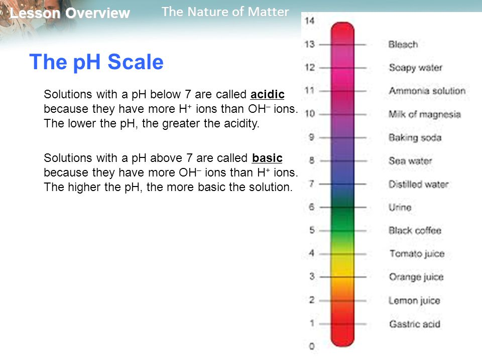 Lesson Overview Lesson Overview The Nature of Matter The pH Scale Solutions with a pH below 7 are called acidic because they have more H + ions than OH – ions.