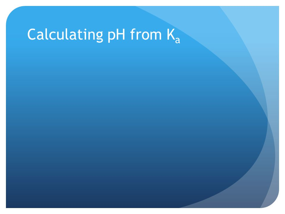Calculating pH from K a