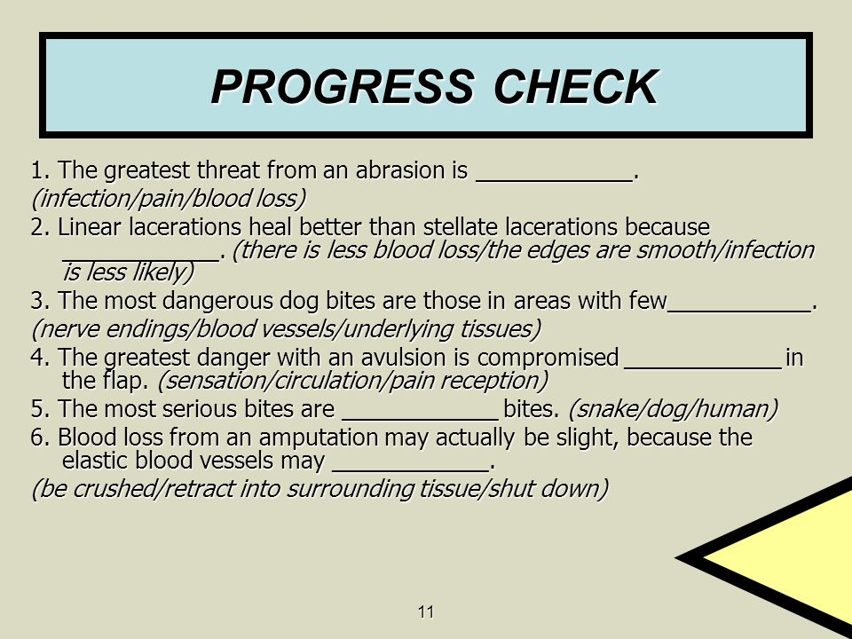 11 PROGRESS CHECK PROGRESS CHECK 1. The greatest threat from an abrasion is ____________.
