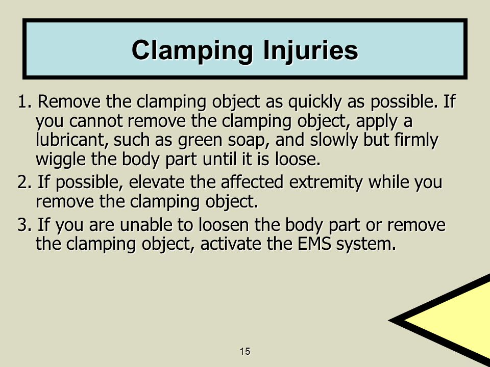 15 Clamping Injuries 1. Remove the clamping object as quickly as possible.