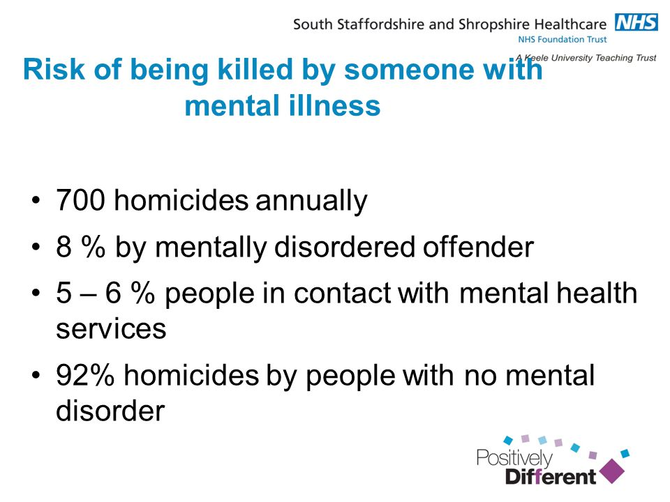 Risk of being killed by someone with mental illness 700 homicides annually 8 % by mentally disordered offender 5 – 6 % people in contact with mental health services 92% homicides by people with no mental disorder