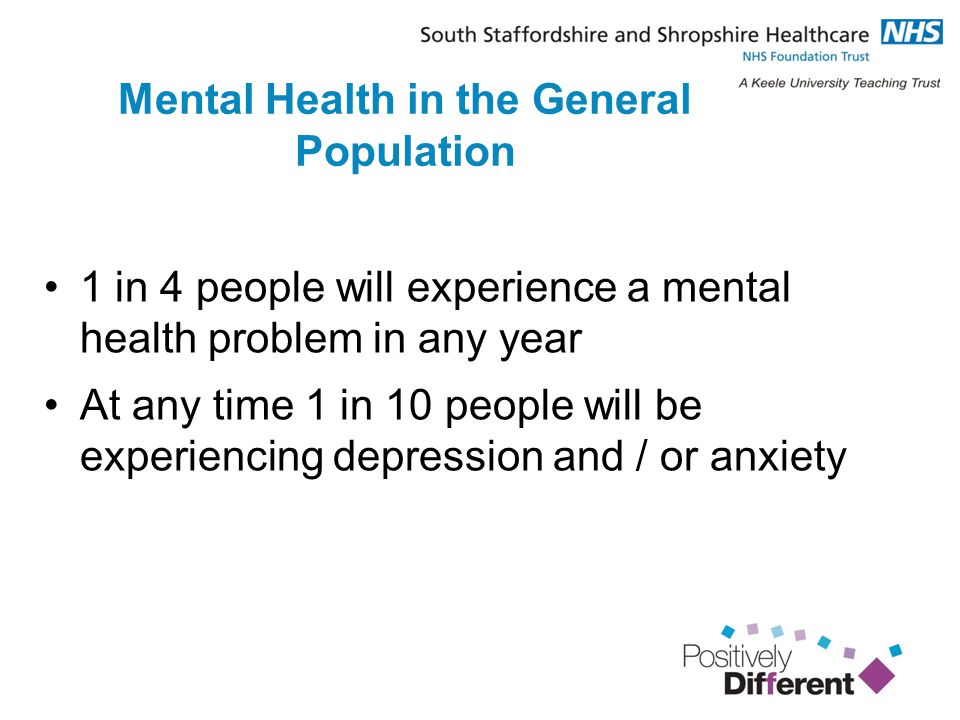 Mental Health in the General Population 1 in 4 people will experience a mental health problem in any year At any time 1 in 10 people will be experiencing depression and / or anxiety