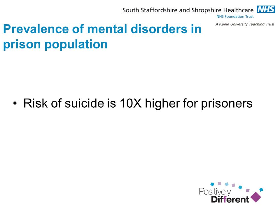 Prevalence of mental disorders in prison population Risk of suicide is 10X higher for prisoners