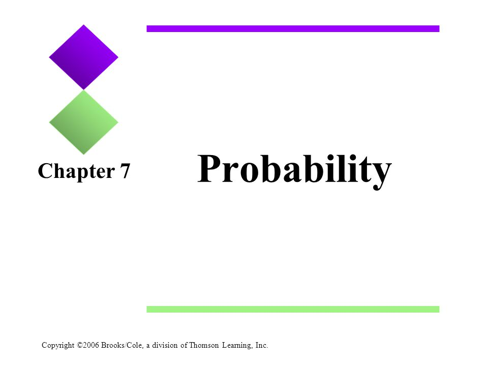 Copyright ©2006 Brooks/Cole, a division of Thomson Learning, Inc. Probability Chapter 7