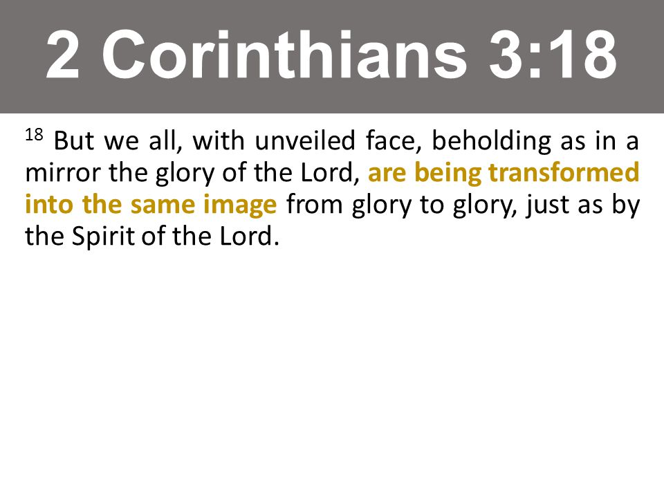 2 Corinthians 3:18 18 But we all, with unveiled face, beholding as in a mirror the glory of the Lord, are being transformed into the same image from glory to glory, just as by the Spirit of the Lord.