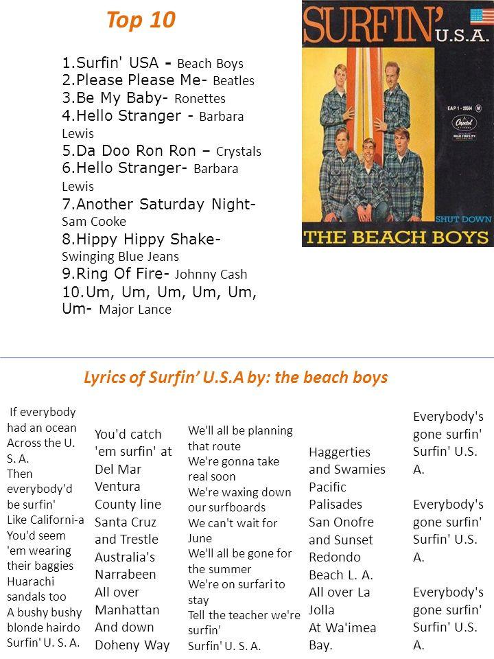 1 Surfin Usa Beach Boys 2 Please Please Me Beatles 3 Be