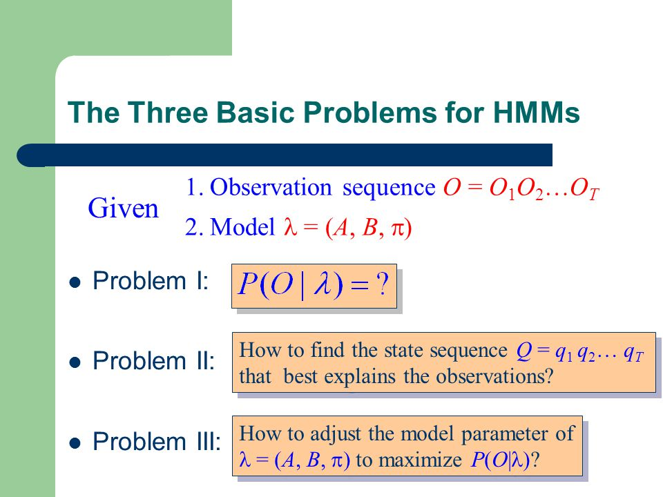 The Three Basic Problems for HMMs Problem I: Problem II: Problem III: Given 1.Observation sequence O = O 1 O 2 …O T 2.Model = (A, B,  ) How to find the state sequence Q = q 1 q 2 … q T that best explains the observations.