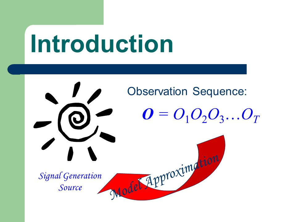 Introduction Signal Generation Source Observation Sequence: O = O 1 O 2 O 3  O T Model Approximation