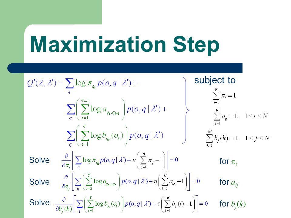 Maximization Step Solve subject to Solve for  i for a ij for b j (k)