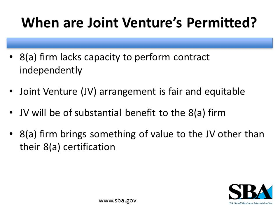 When are Joint Venture's Permitted.