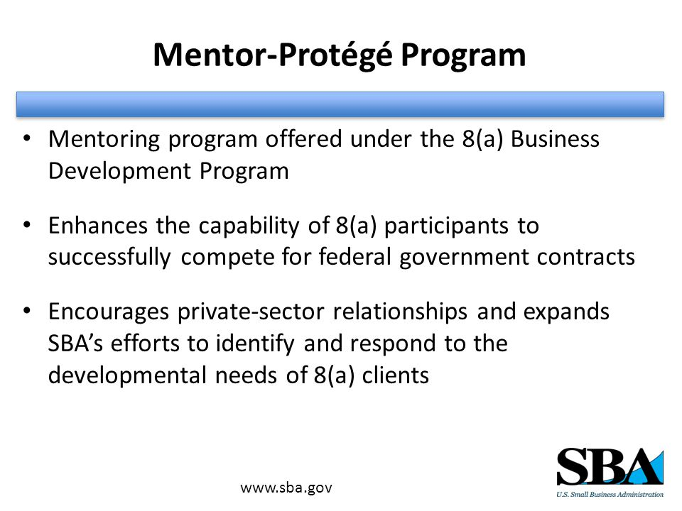 Mentor-Protégé Program Mentoring program offered under the 8(a) Business Development Program Enhances the capability of 8(a) participants to successfully compete for federal government contracts Encourages private-sector relationships and expands SBA's efforts to identify and respond to the developmental needs of 8(a) clients