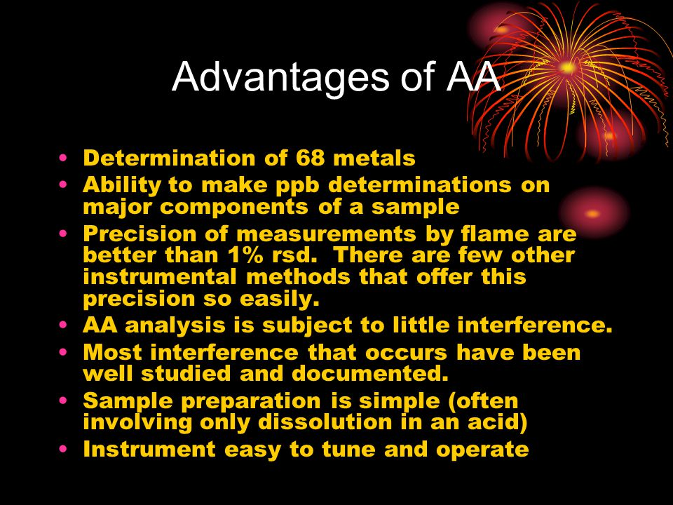Advantages of AA Determination of 68 metals Ability to make ppb determinations on major components of a sample Precision of measurements by flame are better than 1% rsd.