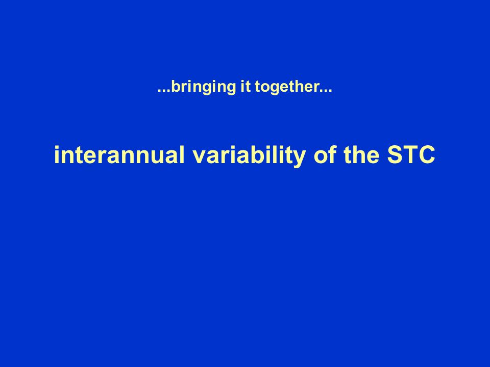 ...bringing it together... interannual variability of the STC
