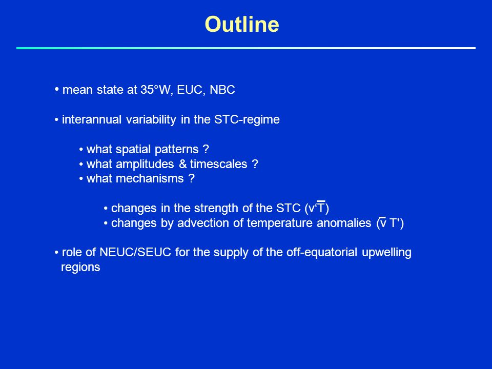 mean state at 35°W, EUC, NBC interannual variability in the STC-regime what spatial patterns .