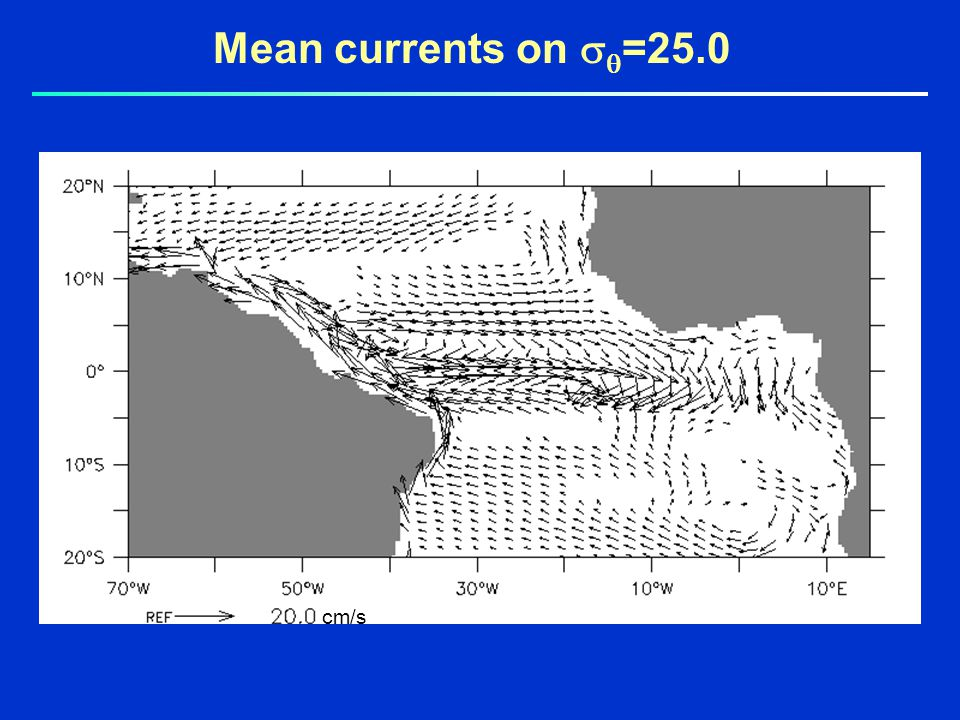 Mean currents on   =25.0 cm/s