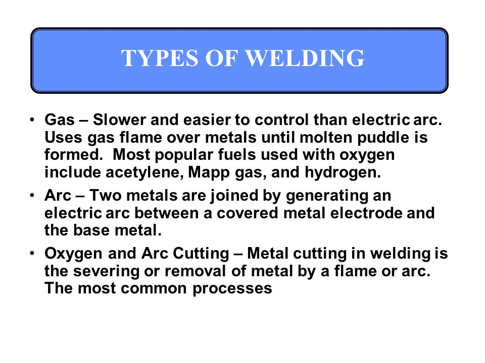 TYPES OF WELDING Gas – Slower and easier to control than electric arc.