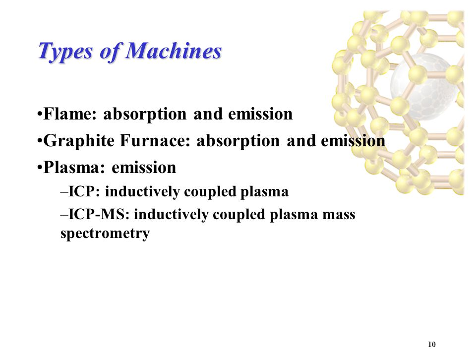 10 Types of Machines Flame: absorption and emission Graphite Furnace: absorption and emission Plasma: emission –ICP: inductively coupled plasma –ICP-MS: inductively coupled plasma mass spectrometry
