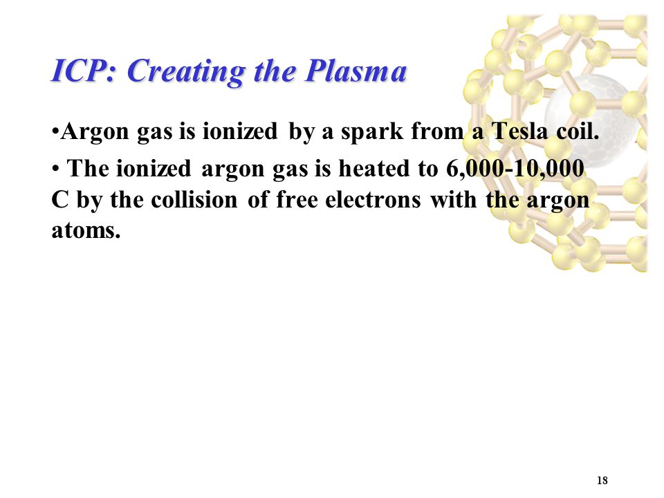 18 ICP: Creating the Plasma Argon gas is ionized by a spark from a Tesla coil.