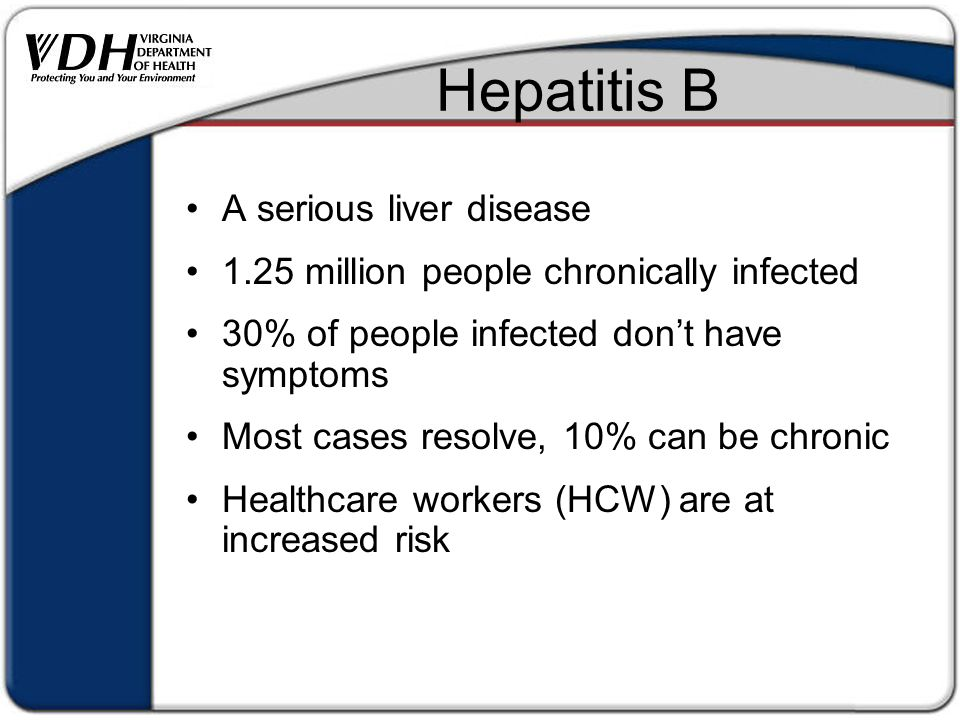Hepatitis B A serious liver disease 1.25 million people chronically infected 30% of people infected don't have symptoms Most cases resolve, 10% can be chronic Healthcare workers (HCW) are at increased risk