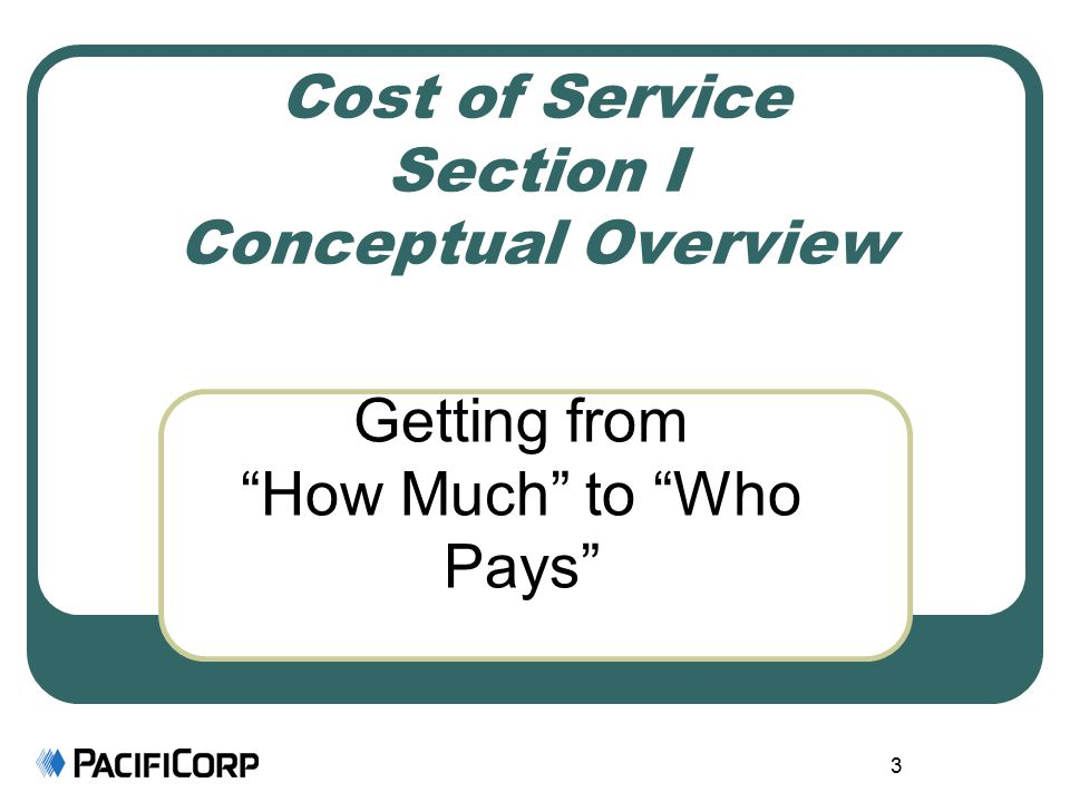 3 Cost of Service Section I Conceptual Overview Getting from How Much to Who Pays